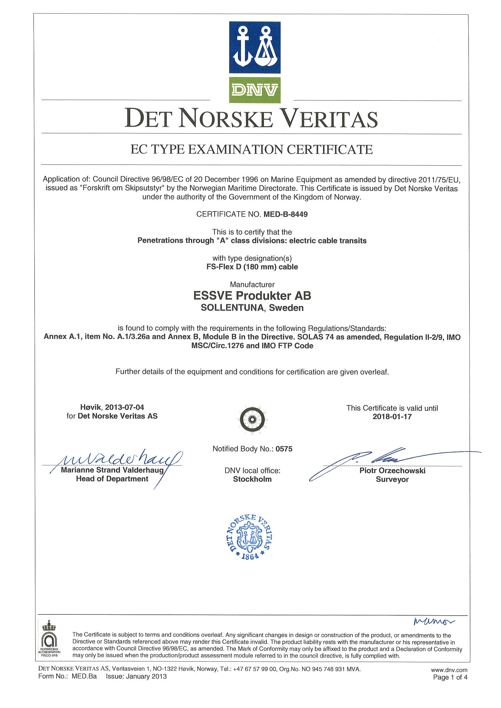 Product Fire Seal Certificate